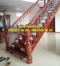 Cầu thang gỗ inox đẹp VIP-G18