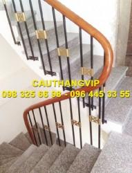 Cầu thang sắt tay vin gỗ đơn giản VIP S24