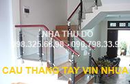 Cầu thang kính tay vịn nhựa VIP - TN03