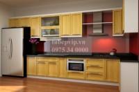 Tủ bếp chữ I gỗ sồi Nga SI01