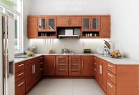 Tủ bếp chữ U gỗ xoan đào